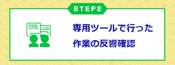 STEP2 専用ツールで行った作業の反響確認